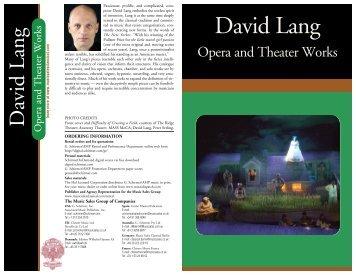 David Lang - G. Schirmer, Inc.
