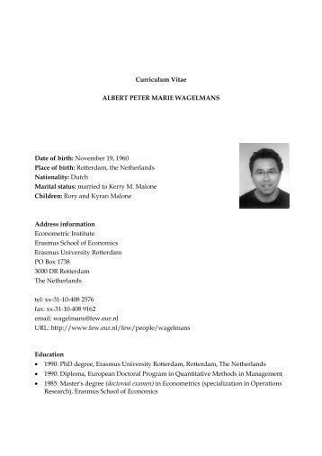Curriculum Vitae ALBERT PETER M ARIE W AGELM ANS Date of ...