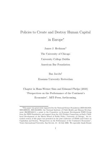 Policies to Create and Destroy Human Capital in Europe