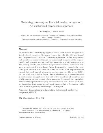 Measuring time-varying financial market integration: An unobserved ...