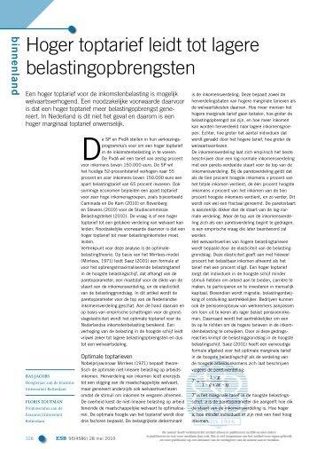 Hoger toptarief leidt tot lagere belastingopbrengsten - Erasmus ...