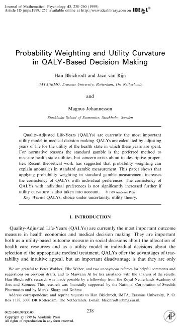 Probability Weighting and Utility Curvature in QALY-Based Decision ...