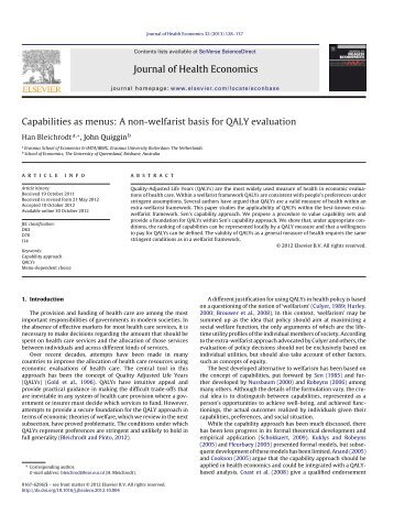 Capabilities as menus: A non-welfarist basis for QALY evaluation