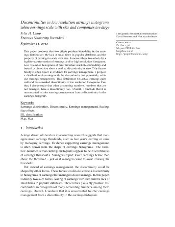 Discontinuities in low resolution earnings ... - UTS:Business
