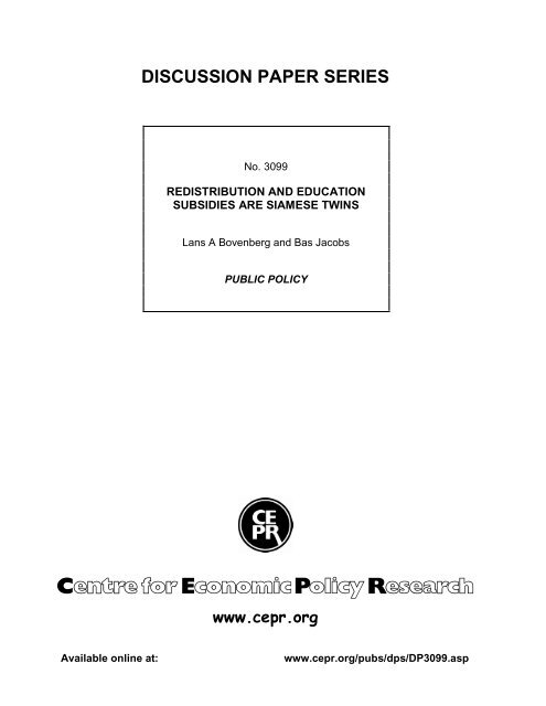DISCUSSION PAPER SERIES www.cepr.org