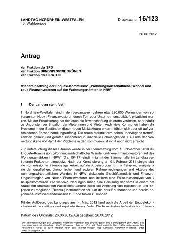 """Wiedereinsetzung der Enquete-Kommission """"Wohnungsw..."""