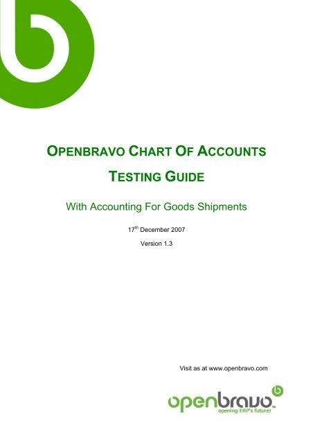 Openbravo Chart Of Accounts Testing Guide