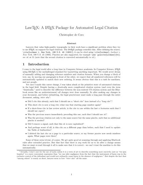 Lawtex A Latex Package For Automated Legal Citation