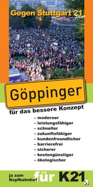 Flyer Göppinger gegen S21 - InfoOffensive Baden-Württemberg