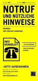 Infomerkblatt Düdingen und südliche Umgebung