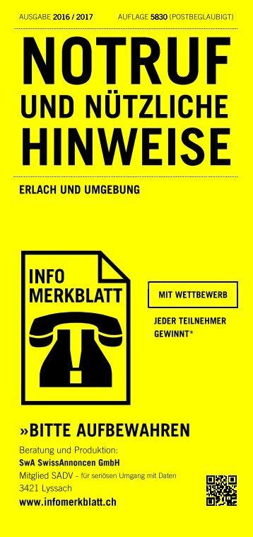 Infomerkblatt Erlach und Umgebung