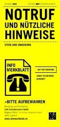 Infomerkblatt Stein und Umgebung