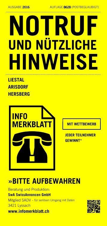 Infomerkblatt Liestal / Arisdorf / Hersberg