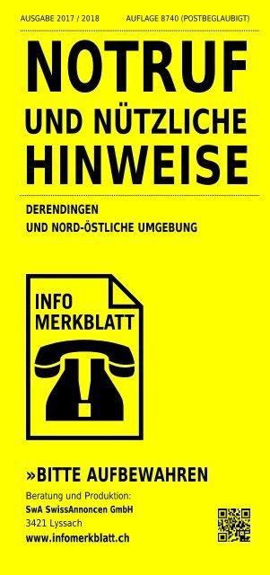 Infomerkblatt Derendingen und Nord-Östliche Umgebung