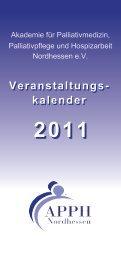 Veranstaltungskalender 2011 - Akademie für Palliativmedizin