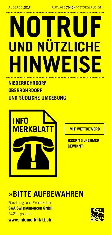 Infomerkblatt Niederrohrdorf / Oberrohrdorf und südliche Umgebung
