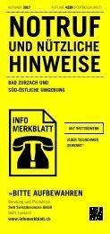 Infomerkblatt Bad Zurzach und süd-östliche Umgebung