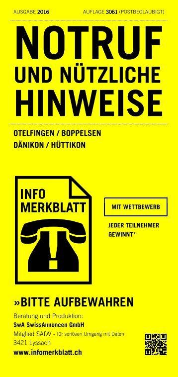 Infomerkblatt Otelfingen / Boppelsen / Dänikon / Hüttikon