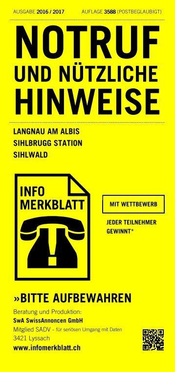 Infomerkblatt Langnau am Albis / Sihlbrugg Station / Sihlwald