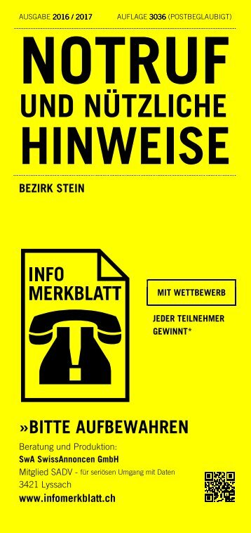 Infomerkblatt aus dem Bezirk Stein