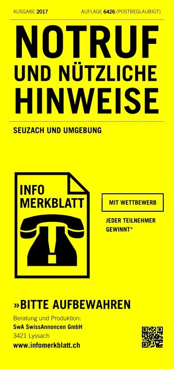 Infomerkblatt Seuzach und Umgebung