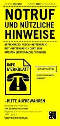 Infomerkblatt Neftenbach / Aesch (Neftenbach) / Riet (Neftenbach) / Dättlikon / Hünikon (Neftenbach) / Pfungen
