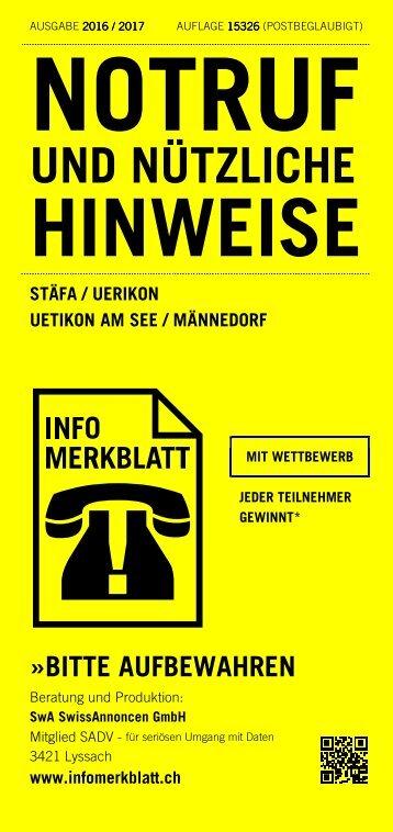 Infomerkblatt Stäfa / Uerikon / Uetikon am See / Männedorf