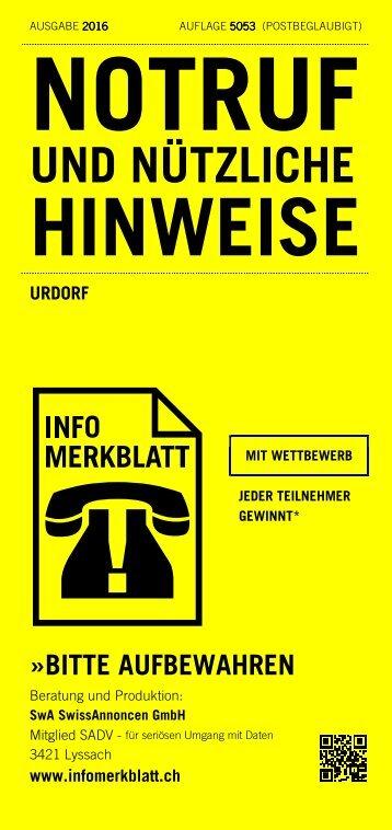 Infomerkblatt Urdorf