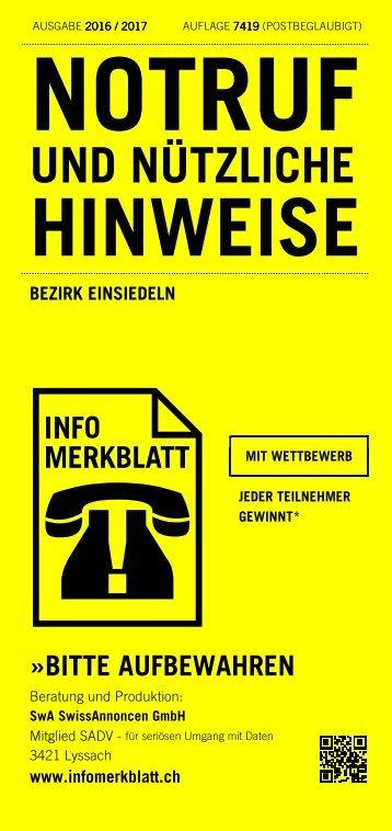 Infomerkblatt Bezirk Einsiedeln