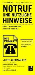 Infomerkblatt Buchs / Werdenberg und nördliche Umgebung