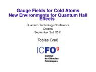 Gauge Fields for Cold Atoms - Quantum Technologies Conference