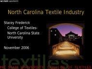 North Carolina Textile Industry - Center on Globalization ...