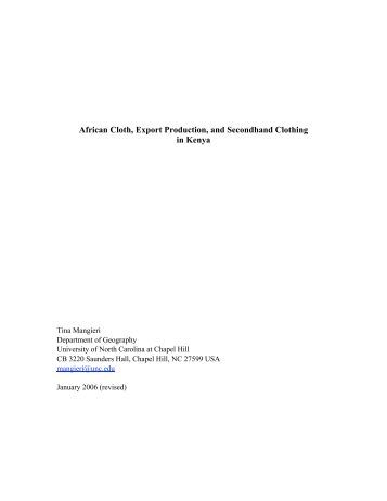 African Cloth, Export Production, and Secondhand Clothing in Kenya