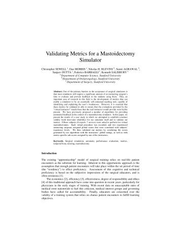 Validating Metrics for a Mastoidectomy Simulator - Technology House