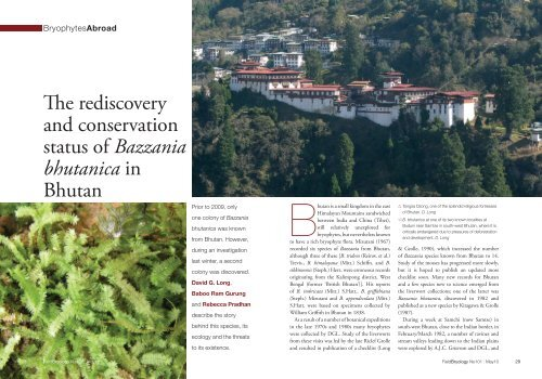 The rediscovery and conservation status of Bazzania bhutanica in ...