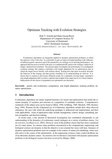 Optimum Tracking with Evolution Strategies