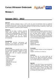 Cursus Ultrasoon Onderzoek Niveau 1 Seizoen 2011 - Applus RTD