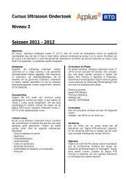 Cursus Ultrasoon Onderzoek Niveau 2 Seizoen 2011 - Applus RTD