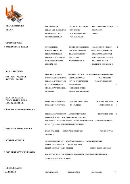 Catalog Sondermodule Überwachungsmodule ... - Appoldt GmbH