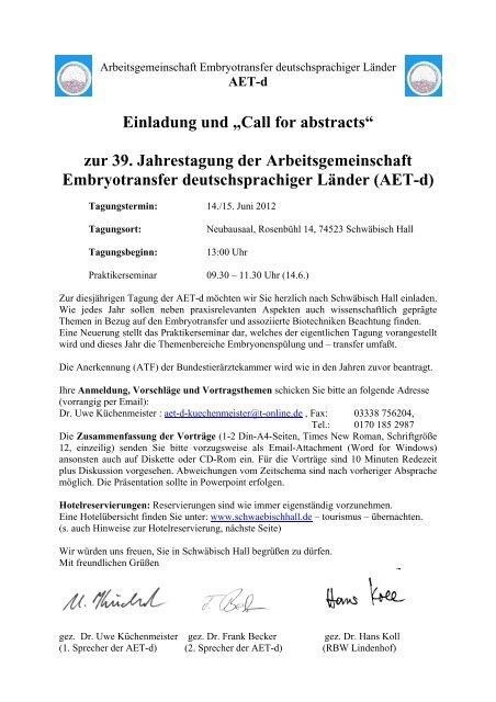 """Einladung und """"Call for abstracts"""" zur 39. Jahrestagung der ... - AET-d"""