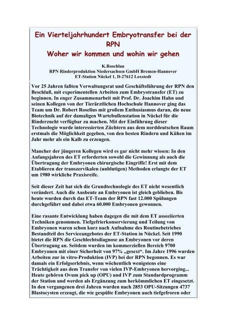 Ein Vierteljahrhundert Embryotransfer bei der RPN Woher ... - Aet-d.de