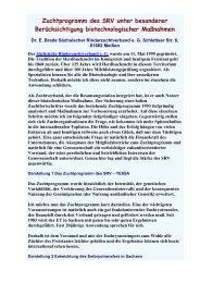 Zuchtprogramm des SRV unter besonderer ... - AET-d