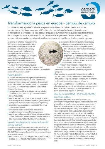 Transformando la pesca en europa - tiempo de cambio - Ocean2012