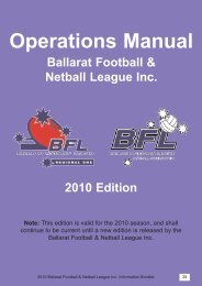 2007 Information Booklet.qxd - Ballarat Football League - Victorian ...