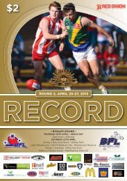 ROUND 2, APRIL 25-27, 2013 - Ballarat Football League