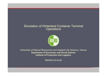 Simulation of Hinterland Container Terminal Operations - SimConT.net