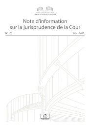 Note d'information sur la jurisprudence de la ... - Council of Europe