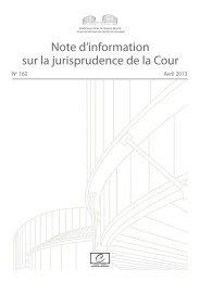 Note d'information sur la jurisprudence de la Cour n° 162 (avril 2013)