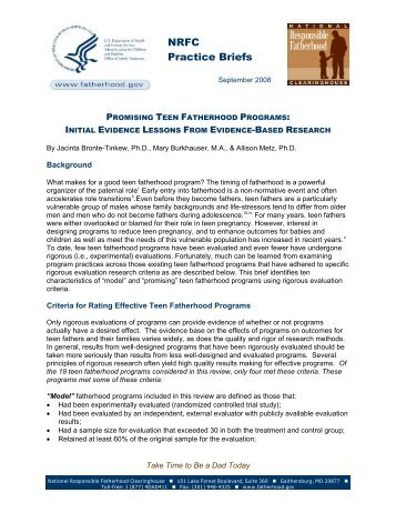 Promising Teen Fatherhood Programs - Initial Evidence Lessons ...