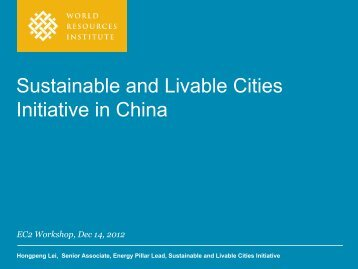 Sustainable and Livable Cities Initiative in China